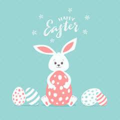 Happy Easter Rabbit with Eggs on Blue Background