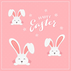 Lettering Happy Easter with Rabbits on Pink Background