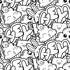Seamless vector pattern with cute cartoon monsters and beasts. Nice for packaging, wrapping paper, coloring pages, wallpaper, fabric, fashion, home decor, prints etc