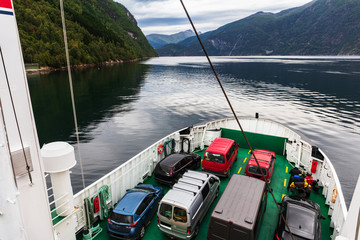 Ferry that transports cars. Norway.