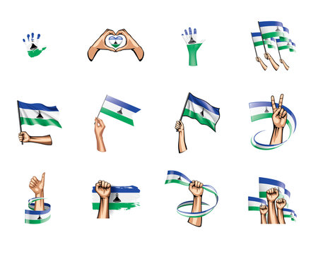 Lesotho flag and hand on white background. Vector illustration
