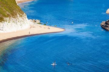 aerial view of Jurassic Coast of  Dorset,  UK- British summer holiday destination