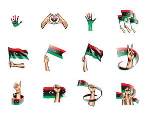 Libya flag and hand on white background. Vector illustration