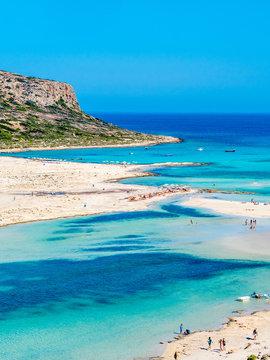 Crete, Greece: Balos lagoon paradisiacal view of beach and sea