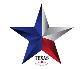 Texas star with nickname The Lone Star State, Vector EPS 10.