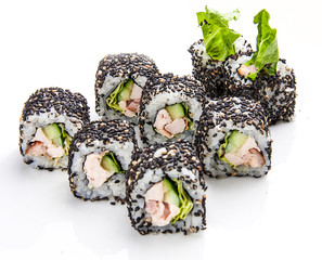 Sushi roll with chicken and cucumber in sesame, on white background