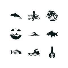 9 fish icon set