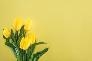 top view of bouquet with yellow tulips isolated on yellow