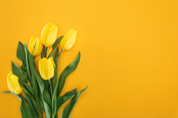top view of bouquet with yellow tulips on orange background