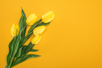 top view of bouquet with yellow tulips on orange background for 8 march