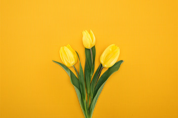 top view of bouquet with yellow tulips on orange background for international women's day