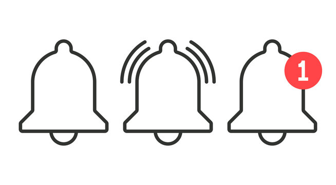 Notification icon. Vector bell icons in line art style