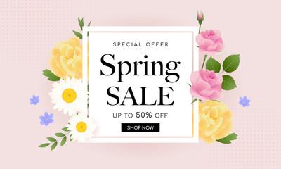 Wall Mural - Spring Sale Banner Vector illustration. Beautiful floral frame on pink pastel background. Vintage style