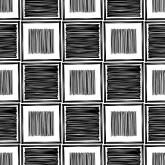 Trendy seamless pattern designs. Black-and-white figures drawn in ink. Vector geometric background. Can be used for wallpaper, textile, invitation card, wrapping, web page background.