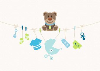 Teddy & Baby Icons Junge Wäscheleine Punkte Blau/Beige