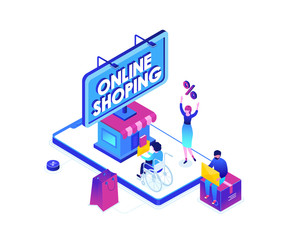 Online shopping - modern colorful isometric vector illustration
