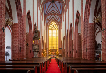 Beautiful interior of St Elizabeth Church in Wroclaw, Poland