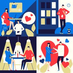 Dating app - flat design style colorful illustration