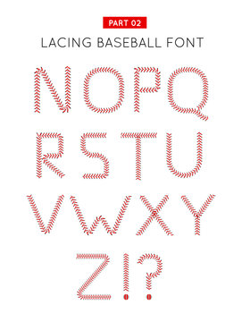 Baseball font made from baseball ball lacing along the contours of the letters. Vector illustration on white background. Part 02