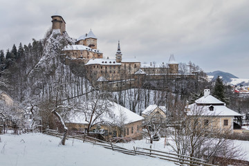 Famous Orava Castle in winter after strong snow storm. Orava region, Northern Slovakia