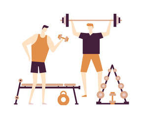 Men at the gym - flat design style colorful illustration