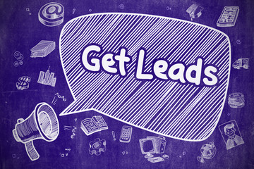 Get Leads - Hand Drawn Illustration on Blue Chalkboard.