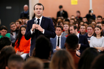 """French President Emmanuel Macron speaks during a meeting with youths as part of the """"Great National Debate"""" in Etang-sur-Arroux"""