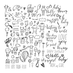 Set of hand drawn design elements for baby shower.