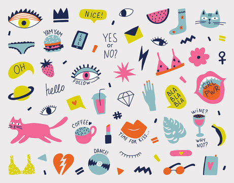 Collection with hand phrases and symbols for teenage girls,