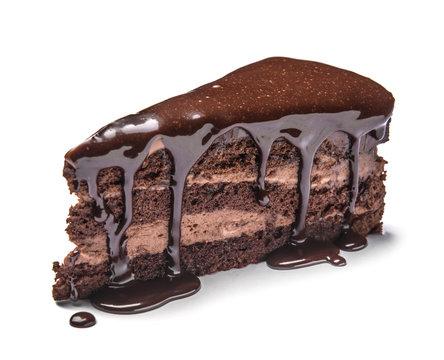Piece of tasty chocolate cake on white background