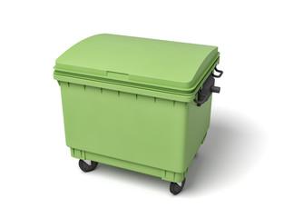 3d rendering of a light-green dumpster on white background.