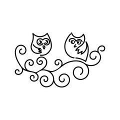 Funny owls on tree branches. Hand drawn vector