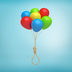 3d rendering of a bundle of helium balloons tied to a hangman's knot on a light-blue background.