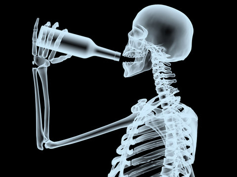 xray scheleton while drinking from the bottle