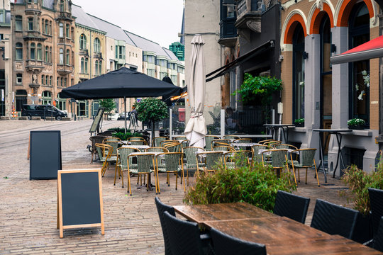 Street view with cafe terrace in Gent, Belgium
