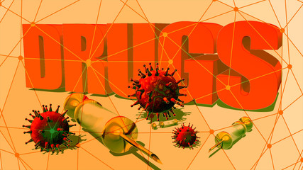 Abstract image relative to drugs addiction. Virus models and syringe with hiv vaccine. 3D rendering