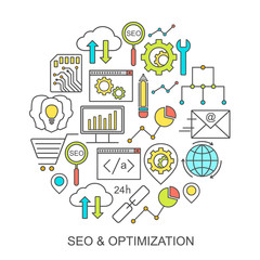 Vector SEO and development pattern with linear icons. Line style optimization and internet technology background.