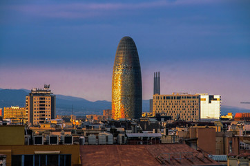 Wall Mural - Scenic aerial view of the Agbar Tower in Barcelona in Spain