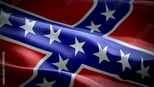 Confederate Flag Video Waving In Wind Realistic Rebel Flag
