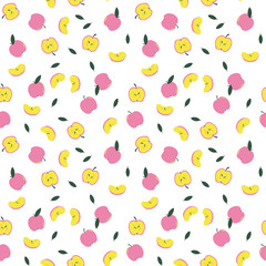 Pink and Yellow Apples Pattern