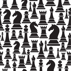 Seamless pattern with chess pieces. Vector illustration design.