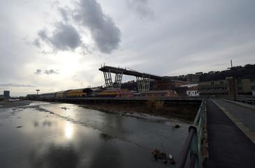 A general view of the collapsed Morandi Bridge in Genoa