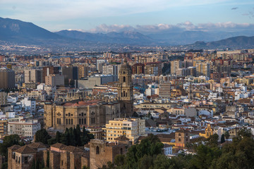 Panoramic aerial view of Malaga in a beautiful day, Spain