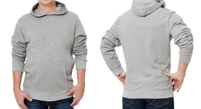 Middle age man in gray sweatshirt template isolated. Male sweatshirts set with mockup and copy space. Sweat shirt design front and back view. Closeup