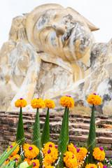 reclining Buddha statue in Wat Lokaya Sutharam, Ayutthaya, Thailand, Asia