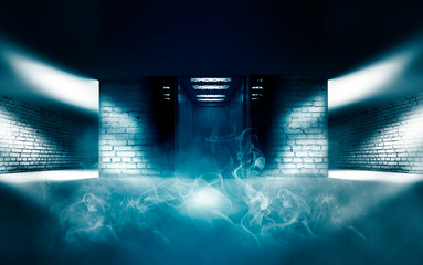 Background of empty room with brick walls and concrete concrete tiles. Open elevator doors. Neon light, spotlight, laser shapes, smoke