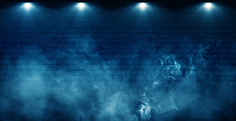 Photo sur Toile Les Textures Background of empty brick old wall, spotlight, neon light, smoke