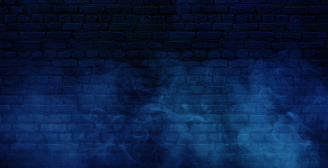 Background of empty brick old wall, spotlight, neon light, smoke