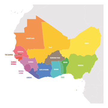 West Africa Region. Colorful map of countries in western Africa. Vector illustration