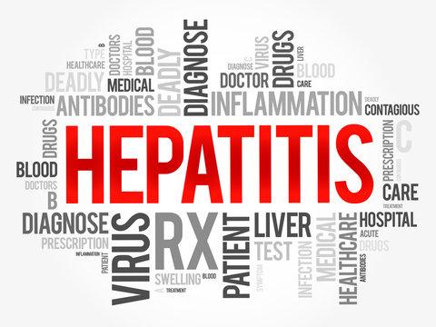 Hepatitis word cloud collage, health concept background